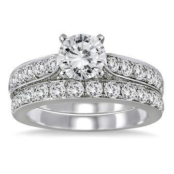 Marquee Jewels 14K White Gold 2 1/ 2ct TDW Round Diamond Bridal Set