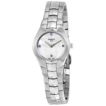 Tissot T-Round White Dial Diamond Ladies Watch T0960091111600