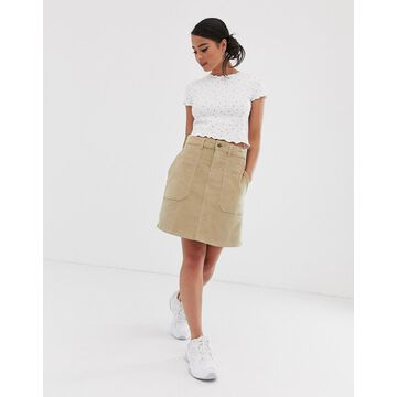 Noisy May cord a line mini skirt in beige-Cream
