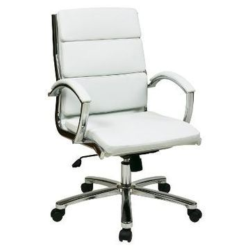Mid Back Executive Office Chair Faux Leather Black - Office Star
