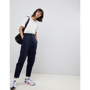 ASOS WHITE pants with side pockets-Navy