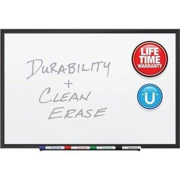Quartet Premium DuraMax Porcelain Magnetic Whiteboard, 3' x 2', Black Aluminum Frame