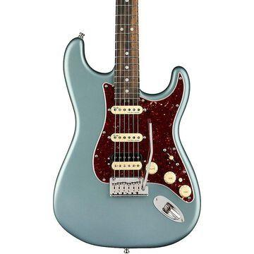 Fender American Elite Stratocaster HSS Shawbucker Ebony Fingerboard Electric Guitar Satin Ice Blue Metallic