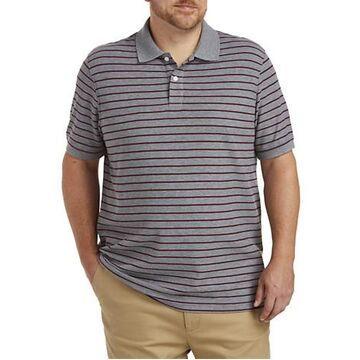 Big & Tall Harbor Bay Mini Stripe Polo Shirt - Grey Multi