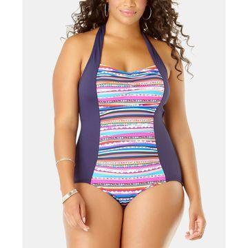 Plus Size Retro-Braid One-Piece Swimsuit