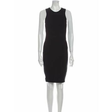 Crew Neck Knee-Length Dress Black