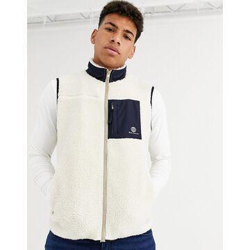 New Look borg vest in ecru-White