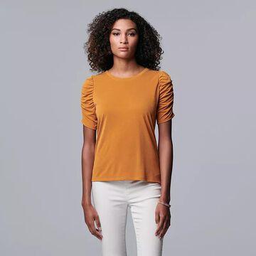 Women's Simply Vera Vera Wang Ruched Elbow Sleeve Tee, Size: Medium, Drk Orange