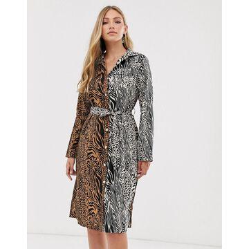 Liquorish midi shirt dress in mixed tiger print