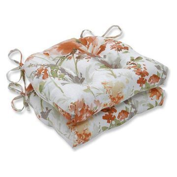 Pillow Perfect Indoor Pretty Perennials Nude Reversible Chair Pads, Se