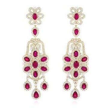 Luxurman Designer Jewelry: Chandelier Ruby & Diamond Earrings 14K Gold 7.3ctw G-H Color (Yellow)