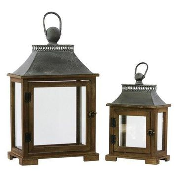 Urban Trends Collection: Wood Lantern, Stained Wood Finish, Brown