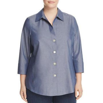 Foxcroft Womens Plus Paige Shaped Button Down Casual Top