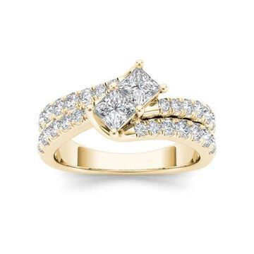 IGI Certified Imperial 1 1/2Ct TDW Diamond 14k Yellow Gold Two Stone Engagement Ring (H-I, I2)