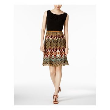 CONNECTED APPAREL Womens Burgundy Chiffon Printed Sleeveless Jewel Neck Above The Knee Dress Size: 16