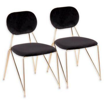 LumiSource Velvet Upholstered Gwen Chairs in Black (Set of 2)