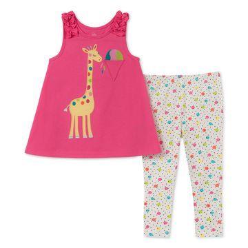 Baby Girls 2-Pc. Giraffe Tunic & Printed Leggings Set