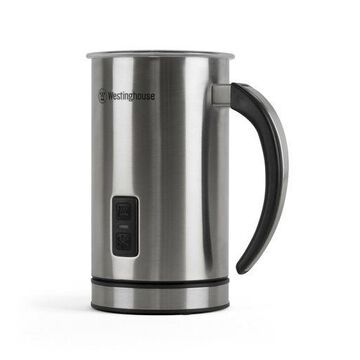 ''Milk Frother and Warmer, Stainless Steel Milk Steamer, Push-Button Power with Au''