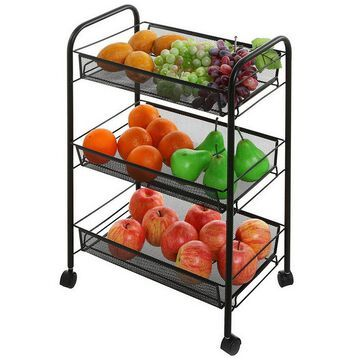 3-Tiers Storage Sliding Carts with Basket for Home/Office