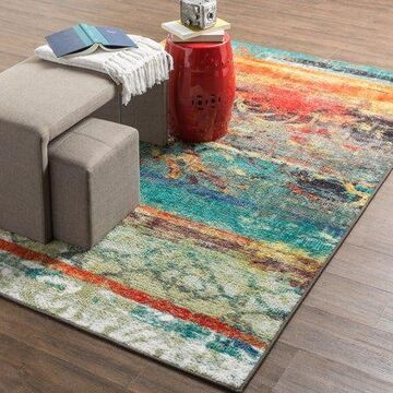 Mohawk Home Strata Eroded Color Multi Contemporary Abstract Printed Area Rug, 1'8