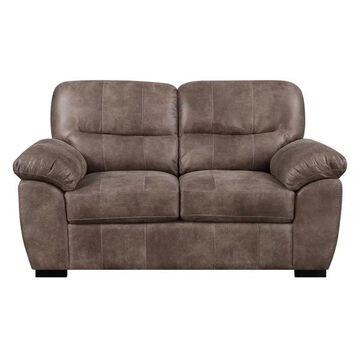Pemberly Row Jesse Almond Brown Loveseat w/ Faux Leather Pillow Top Ba