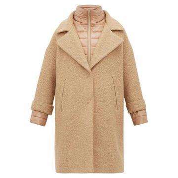 Herno - Gilet Insert Boucle Wool Blend Coat - Womens - Camel