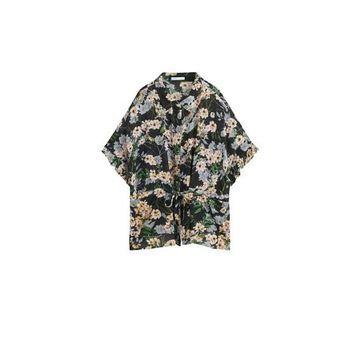 Violeta BY MANGO - Floral print blouse black - 14 - Plus sizes