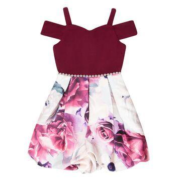 Girl's 7-16 Speechless Cold Shoulder Floral Print Bubble Dress