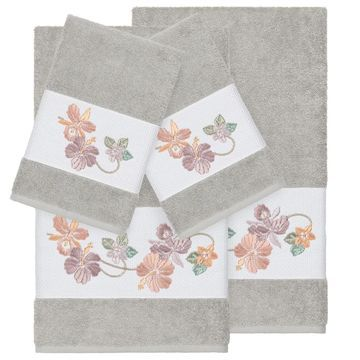 Authentic Hotel and Spa Turkish Cotton Floral Vine Embroidered Light Grey 4-piece Towel Set