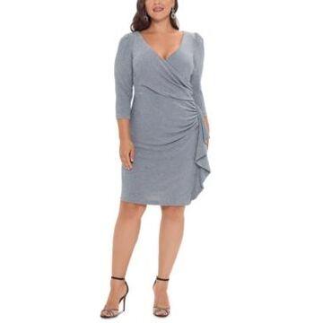 Betsy & Adam Plus Size V-Neck Faux-Wrap Dress