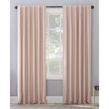"Sun Zero Evelina Faux Dupioni Silk Thermal Extreme Blackout Back Tab Curtain Panel, 63"" L x 50"" W"