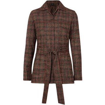 Akris Tie-front Checked Tweed Jacket