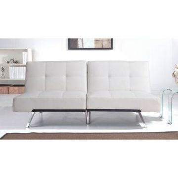Abbyson Living Aspen Leather Futon Sofa in Ivory
