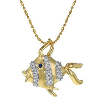 14k Yellow Gold 1/3ct. TDW Diamond Fish Necklace by Beverly Hills Charm