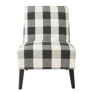 HomePop Modern Armless Dining Accent Chair (Black Buffalo Plaid)