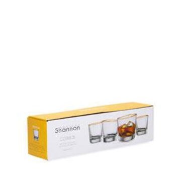 Cosmos 10 oz. Double Old Fashioned Glasses w/ Golden Rim, Set of 4