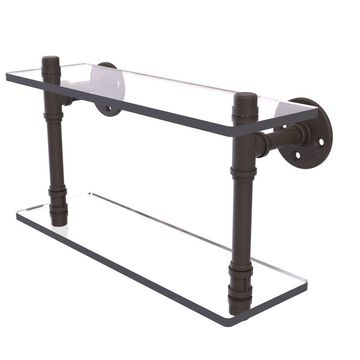 Allied Brass Pipeline Collection Double Glass Shelf