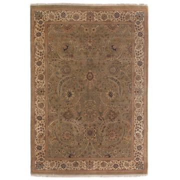 Exquisite Rugs Agra Light Green / Gold New Zealand Wool Rug - 8' x 10'
