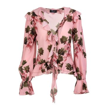 Blumarine Pink Blouse With Ruffles And Roses Print