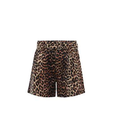 Ganni - Belted Leopard-print Linen-blend Hopsack Shorts - Womens - Leopard