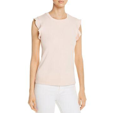 Three Dots Womens Ruffle Sleeves Crew Neck T-Shirt