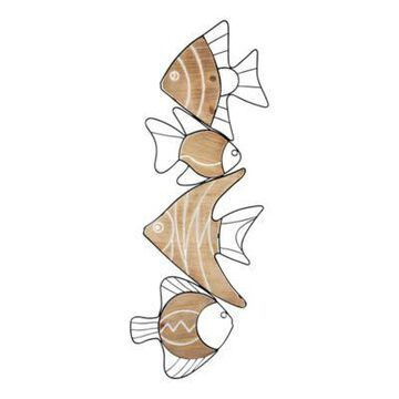 Stratton Home Decor Metal and Wood Swimming Fish 12.2-Inch x 33.7-Inch Wall Art