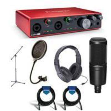 Focusrite Scarlett 8i6 3rd Generation USB Interface - Bundle With Samson SR350 Over-Ear Headphones, A-T AT2020 Cardioid Condenser Mic, Samson PS04 Pop Filter, Samson Mic Stand, 2x 20' Mic Cable