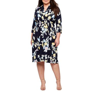 London Times 3/4 Sleeve Floral Fit & Flare Dress-Plus