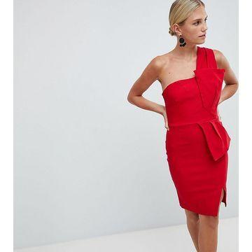 Vesper One Shoulder Pencil Dress with Bow Waist
