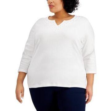 Karen Scott Plus Size Cotton Applique Split-Neck Top, Created for Macy's