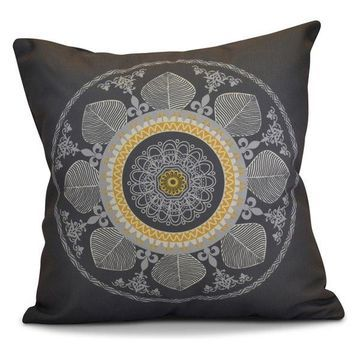 Stained Glass Geometric Print Outdoor Pillow, Gray, 18