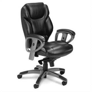 Safco Ultimo Executive Mid Back Leather Office Chair - Black - Mayline