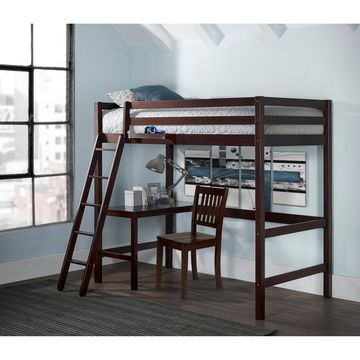 Caspian Twin Study Loft with Chair and Hanging Nightstand, Chocolate