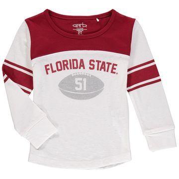 Florida State Seminoles Girls Toddler Long Sleeve Stripe Football T-Shirt - White/Garnet